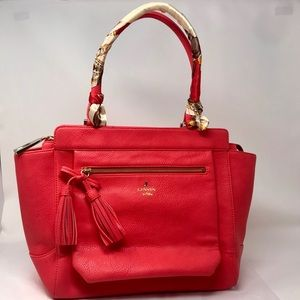 Lanvin en Bleu Red Leather Satchel w/ Tassels